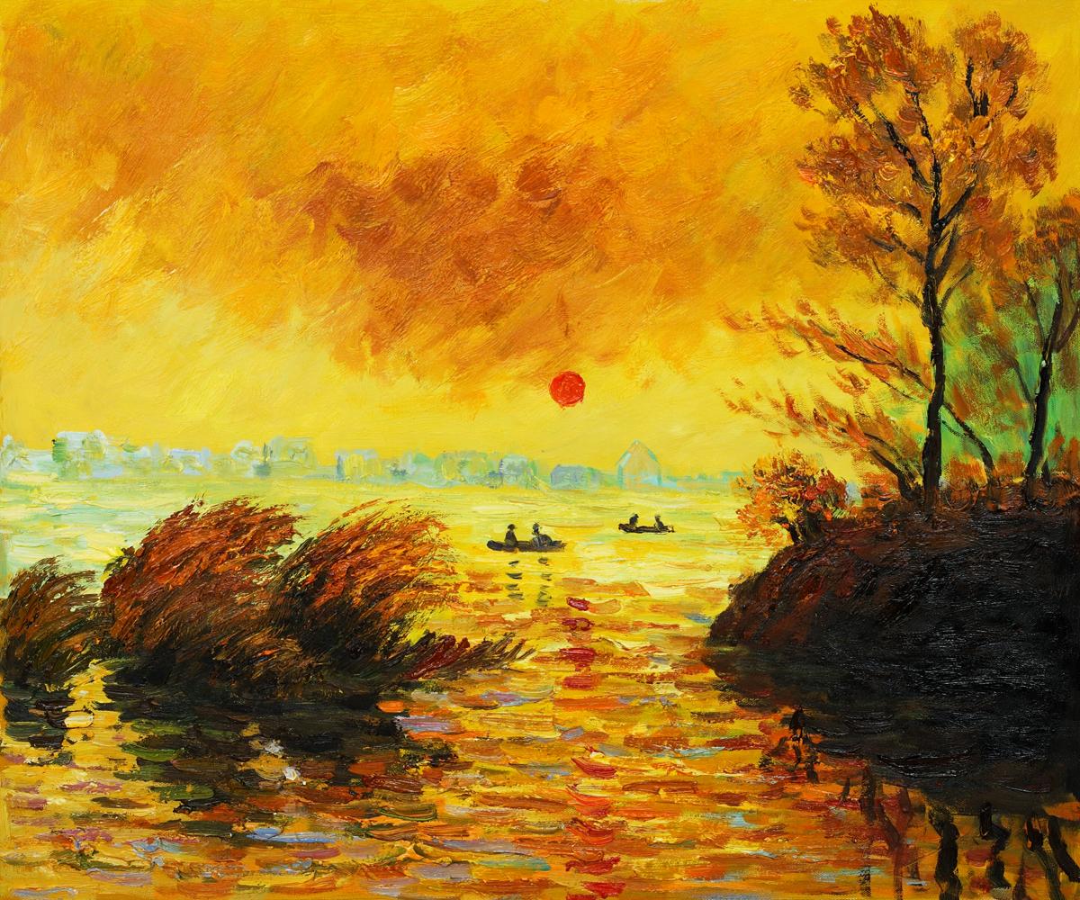Le Coucher Du Soleil La Seine - Claude Monet